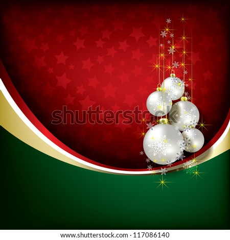 Abstract green red background with Christmas decorations - stock photo