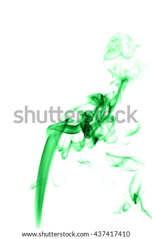 Abstract green smoke on white background from the incense sticks
