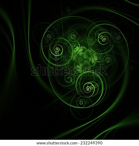 Abstract green spiral shapes on black background - stock photo