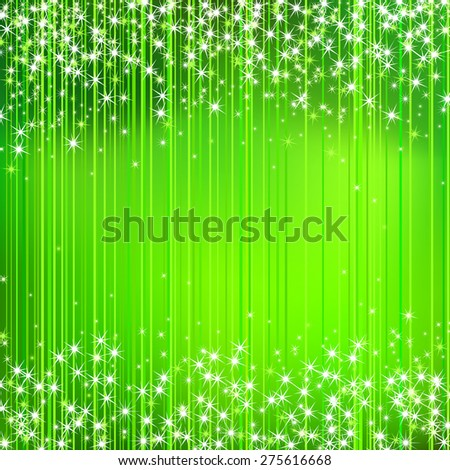 Abstract Green Stripped Background with Stars  - stock photo