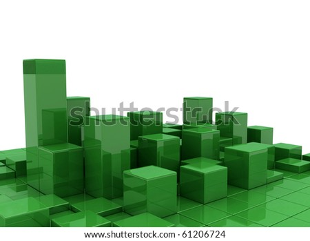 abstract green urban background of 3d blocks