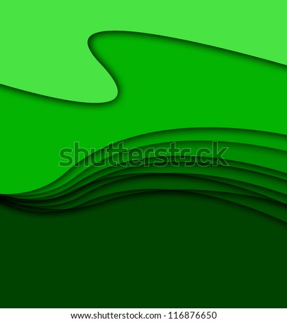abstract green waves - stock photo