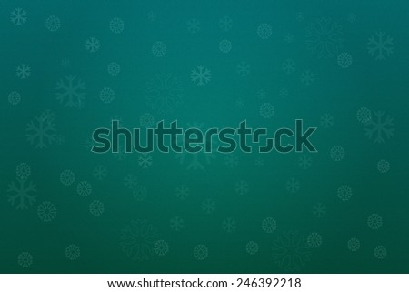 Abstract green winter background with snowflakes - stock photo