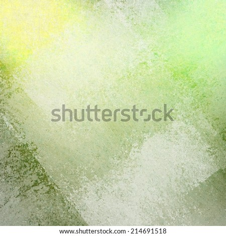 abstract green yellow background with white faded grunge rectangle shapes layered in random pattern - stock photo