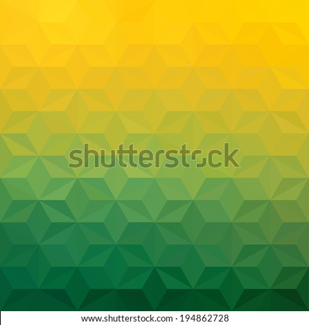 Abstract Green Yellow Triangle Background,  Raster Version - stock photo