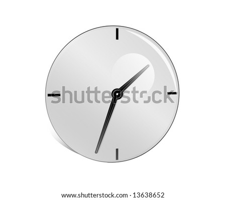 Abstract grey clock on a white background