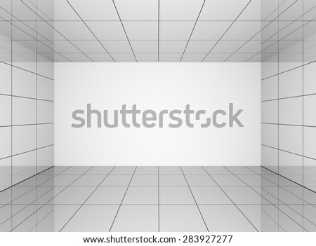 Abstract grey interior in room with blank wall