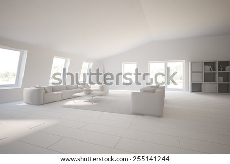 abstract grey interior of living room-3D rendering