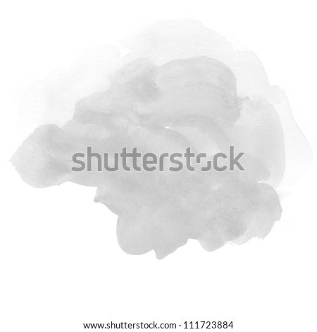 abstract grey watercolor on white background - stock photo