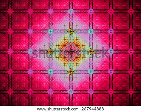 Abstract grid background with a detailed large square pattern made out of small squares and connected with rings and fit into columns and rows, all in bright vivid shining pink,blue,yellow,red - stock photo