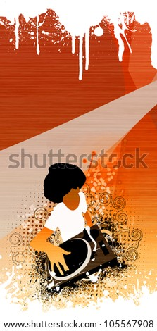 Abstract grunge Afro DJ background with space - stock photo