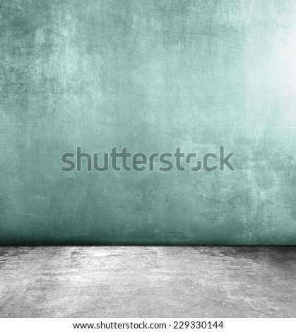 Abstract grunge background with green wall and grey concrete floor texture - stock photo