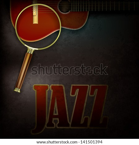 abstract grunge background with magnifying glass and accoustic guitar - stock photo