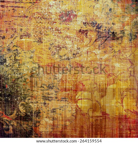 Abstract grunge background with retro design elements and different color patterns: yellow (beige); brown; red (orange) - stock photo