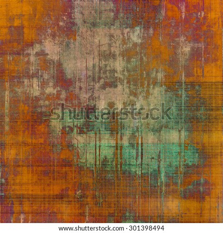 Abstract grunge background with retro design elements and different color patterns: yellow (beige); brown; purple (violet); green - stock photo