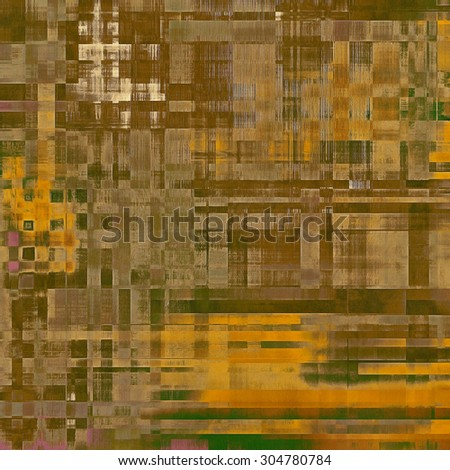 Abstract grunge background with retro design elements and different color patterns: yellow (beige); brown; gray; green - stock photo