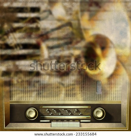 Abstract grunge background with retro radio and musical instruments - stock photo