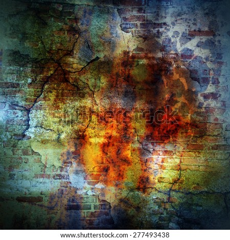 Abstract grunge background with scratches and bricks for your design. Mixed from my own photos. - stock photo
