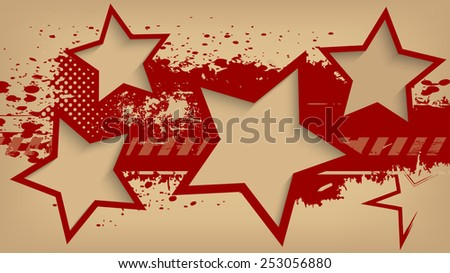 Abstract grunge background with stars. Raster version.