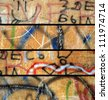 abstract grunge banners set. City walls with graffiti - stock photo