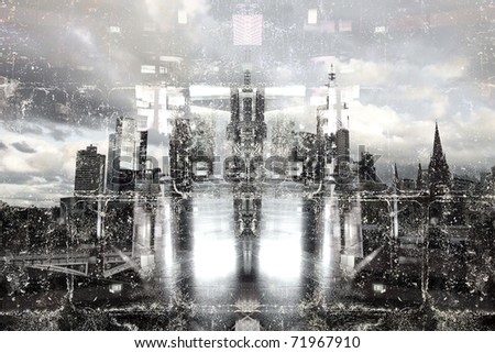 Abstract Grunge City - stock photo