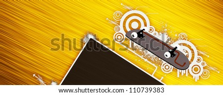 Abstract grunge color Skateboard background with space