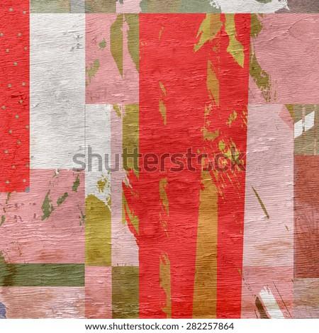 abstract grunge design on wood grain texture - stock photo