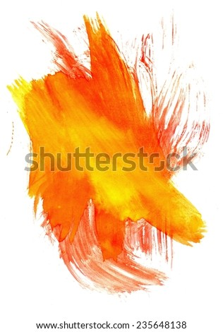 Abstract grunge gouache painting background of orange and black color. - stock photo