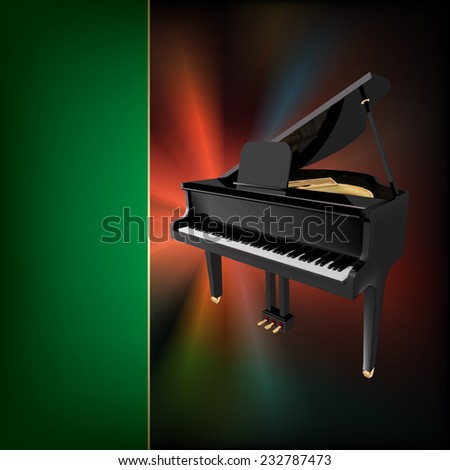 abstract grunge green music background with grand piano