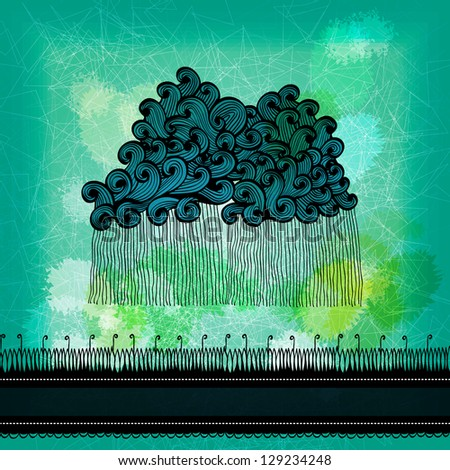 Abstract grunge greeting card with hand drawn clouds and rain. Raster version of the vector image - stock photo