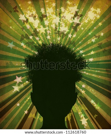 Abstract grunge illustration of tree silhouette of a man's head. - stock photo