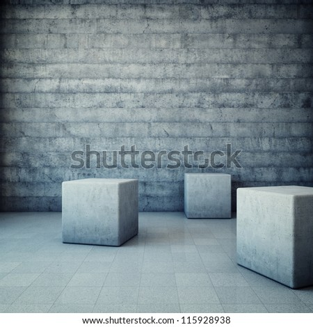 Abstract grunge interior with concrete cubes - stock photo
