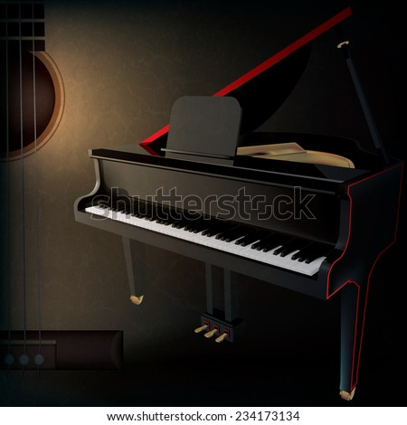 abstract grunge music background with guitar and grand piano on black - stock photo