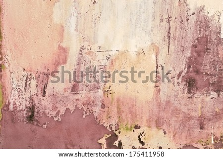 abstract grunge pastel colored wall with spots and scratches used as background - stock photo