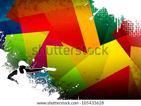 Abstract grunge pistol shot sport background with space - stock photo