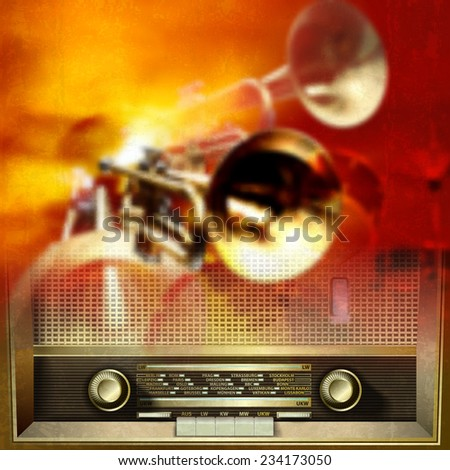 Abstract grunge red background with retro radio and musical instruments - stock photo