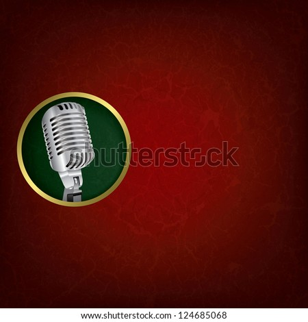 abstract grunge red music background with retro microphone on green