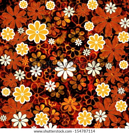 Abstract Grunge Repeating Flower Pattern Graphic Design