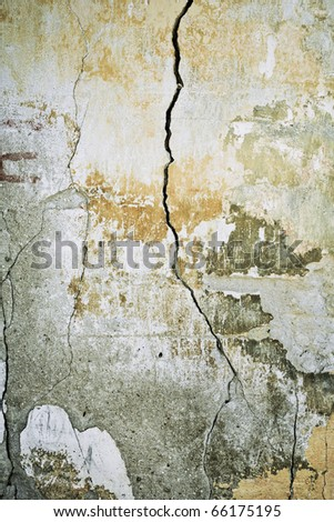 Abstract grunge shabby wall with cracks and paint. Special f\x faded colors. - stock photo