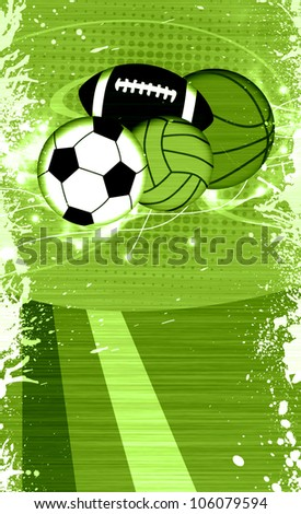Abstract grunge sport balls background with space - stock photo