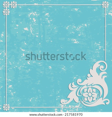 Abstract Grunge texture blue background. Ornament frame - stock photo