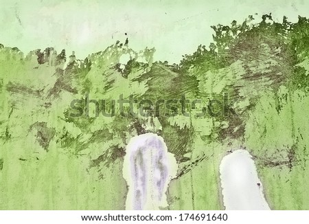 abstract grungy background of chaotic painted wall with strokes and scratches - stock photo