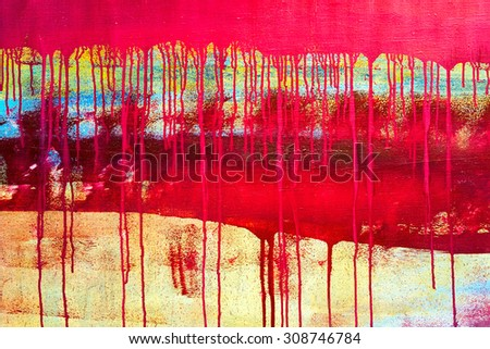 abstract grungy painted texture closeup background with paints leaking down - stock photo