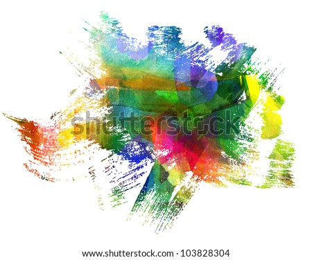 Abstract guasch painting. Blot. Blurred stain. Blob. Freehand drawing - stock photo