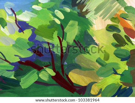 Abstract guasch painting. Blurred spot. Freehand drawing - stock photo