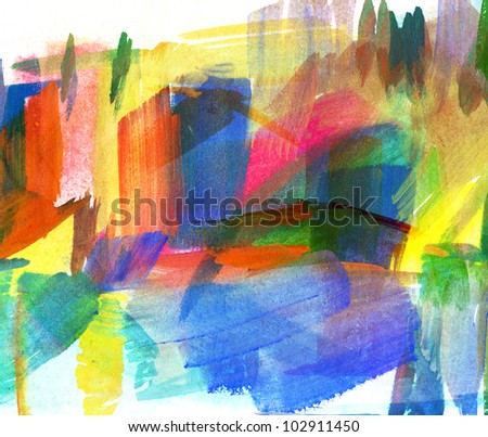 Abstract guasch painting. Freehand drawing - stock photo