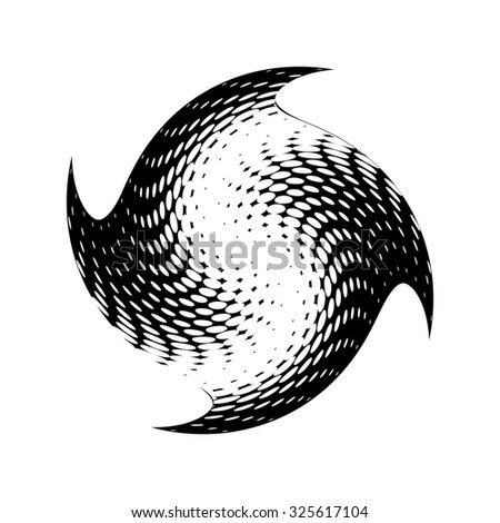 Abstract halftone circle design. Isolated round icon, abstract globe symbol, business concept. Abstract black dotted sphere. Science and tourism, technology or environmental background
