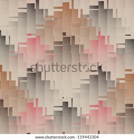 Abstract halftone cityscape geometric illusion print background. Seamless pattern. - stock photo