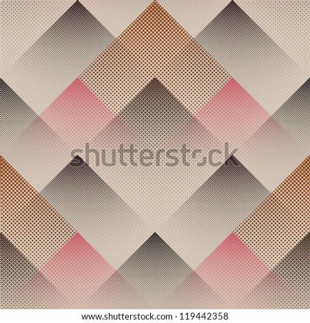 Abstract halftone geometric illusion print background. Seamless pattern. - stock photo