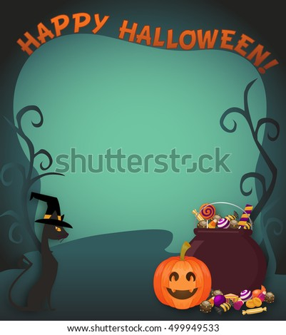 Abstract Halloween Trick or treat poster or flyer background with empty space